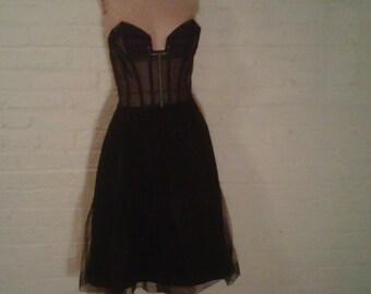 Black Dress Paris Bob Bugnand Steampunk Designer Couture Lace Corset Bustier