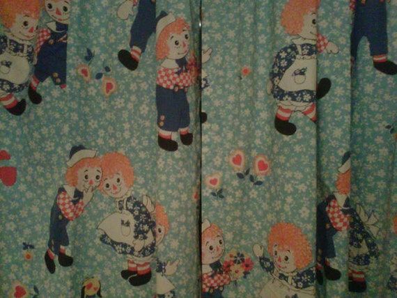 Raggedy Ann and Andy Curtains 2 1970s Bedroom Nursery