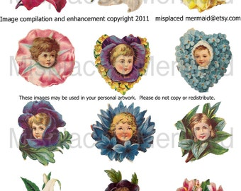 Adorable Victorian Flower Face Digital Collage Sheet 1