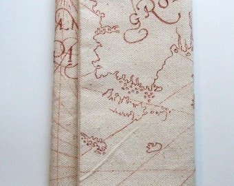 wallet hand drawn old world map with ship on the ocean canvas wallet handmade old trading post
