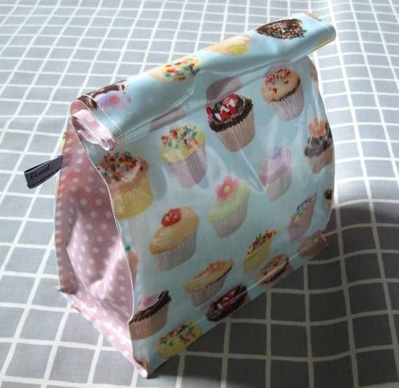 Lunch Bag: Cupcake And Polka Dot Handmade Eco Friendly Pouch