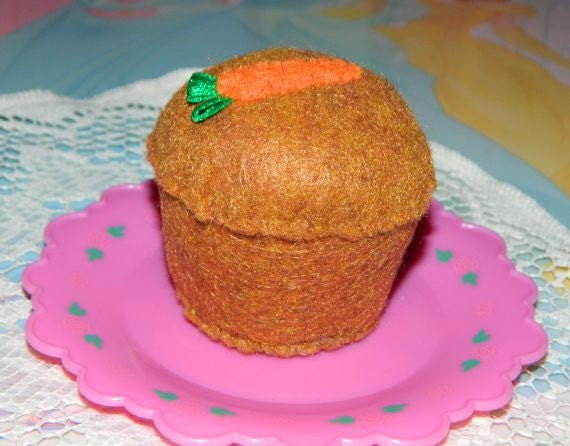 felt food carrot muffin ready to ship