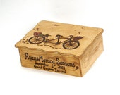 Tandem Bicycle Large Rustic Personalized Wooden Wedding Gift Card Box or Gift Box...