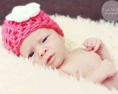 Baby Girl Beanie Hat - 3-6 MONTHS -  Beanie Hat - Ready to Ship, pink hat with white flower