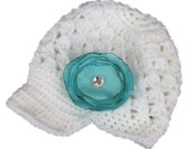 READY TO SHIP - Crochet Beanie Hat with Visor, Newsboy Cap - White - Comes with Silk Flower hairclip - 5T size