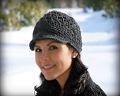 WOMANS Crochet Fashion Newsboy Cap, Beanie Hat with Visor, Charcoal Gray - Wool Blend Yarn