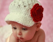 White Baby Hat with Valentine Red Flower, Baby Toddler Accessories, Baby Hat, Baby Girl Newsboy Cap Beanie Hat with Visor - White