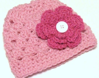 Girls Clothing Accessories, Hats, Crochet Cloche / Beanie Hat with Flower, light pink hat with dark pink flower
