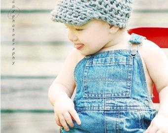 Crochet Boy Beanie Hat with Visor or Brim - Simple Newsboy Cap Style