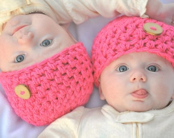 Girl Beanie Hats for TWINS - Crochet Chunky Style - with hand-made buttons, Twin Photo Props