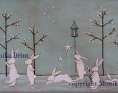 Bunnies Celebrating Winter-Christmas Decoration-Vintage Decor-Hand Made-Winter-Winter Trends