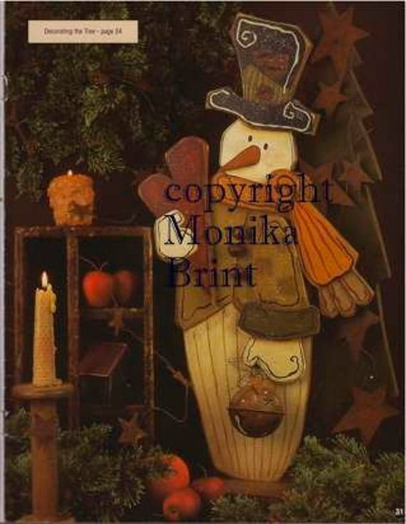 Pattern primitive snowman christmas decor seasonal hand made