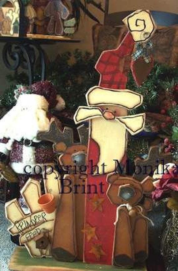 Santa's Jingle Bell Reindeer-Woodworking Patterns-Christmas decoration-Primitive Santa-Primitive Decor-Holiday Decor