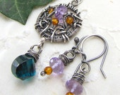 Sterling Silver Amethyst Pendant Earring Set Wire Wrapped Hydro Quartz Amber