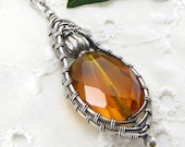 Wire Wrapped Pendant Necklace Sterling Silver Pendant With Faceted Amber Glass Nugget
