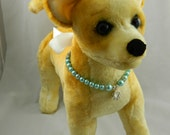 Light Blue Glass Pearl Dog Collar with Silver Paw Charm & White Satin Ribbon - HANDMADE