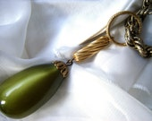 Vintage Moonglow Lucite Olive Green Drop Necklace