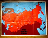 Vintage 1976 RED map of the Soviet Union U.S.S.R.