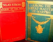 Antique Books pair 1900s, Red, Green for decorating, collecting or props