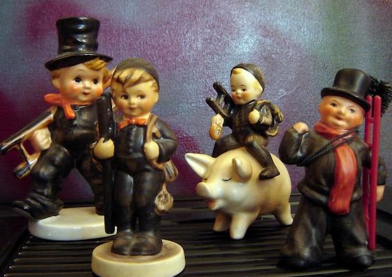 4 vintage Goebel Hummel  Figurines, Chimney Sweep, Lamplighter, instant collection