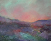 "Original Abstract Landscape, ""Purple Hills"""