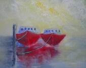 Fishing Boats Original Painting Original Art