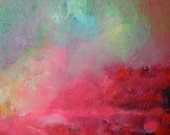 "Abstract Art, Pink Red Sky  Oil Painting Original Landscape ""Sunrise in the Tropics"""