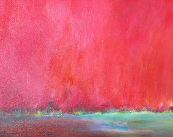 "Original  Abstract Art Landscape, ""Red 6"""