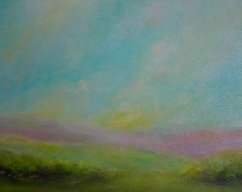 "Original Art Blue Sky Abstract Landscape, ""Over The Hill"""