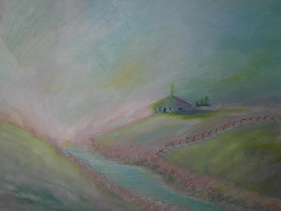 The Church on the Farm, Original Oil Painting