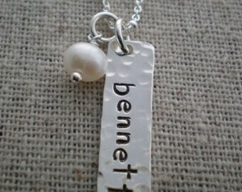 custom stamped name tag necklace, hand stamped sterling silver, mothers necklace, one name necklace, mom of one,