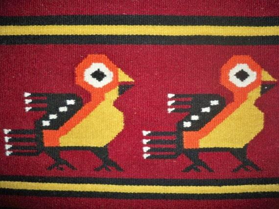 Vintage Retro Zapotec Rug Wall Hanging Birds