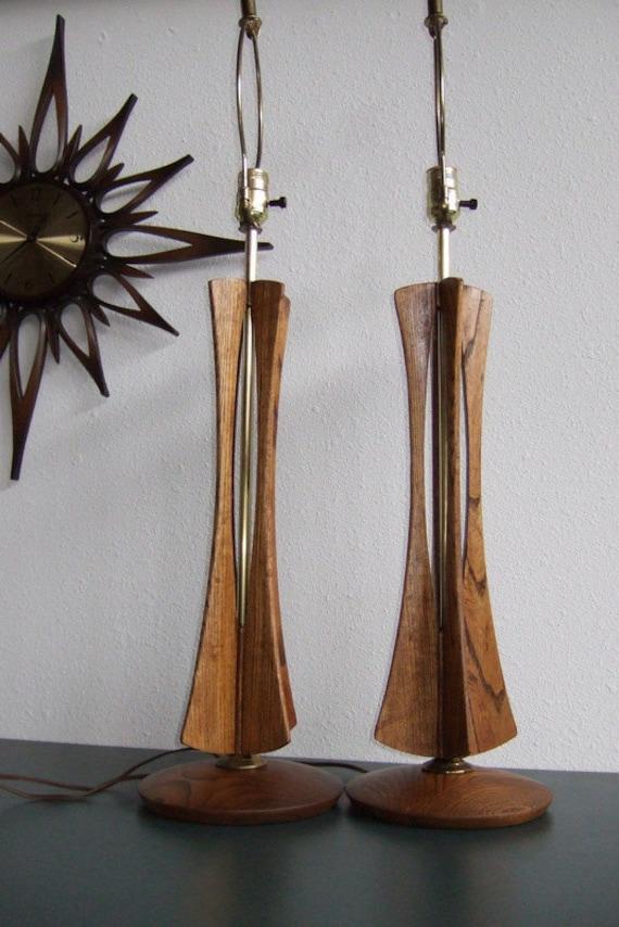 Mid Century Maple Sculptural Lamps-Pair