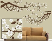 Best Selling Large Vinyl Wall Decal Set Cherry Blossoms Tree Branches with White Flowers, Country Decor Woodland Nursery (001610a32v))