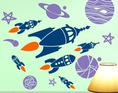 Kids Room decor: Outer Space Planets & Spaceships Wall Decals, 6 Retro Rocket Ships with Stars, Sci Fi Vinyl Wall Decals (0177a1v)