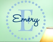 Large Monogram Vinyl Wall Decal, Circle of Dots with Initial and Name for Your Home Decor, Shown: Emery (0172d7v-r3)
