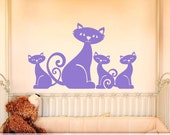 Vinyl Wall Decal: Adorable Mom Cat and 3 Little Kittens Family for Baby Nursery or Bedroom Decor, Kids Playroom Decor