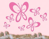Butterfly Decor for Girls Room, Butterfly Decal Stickers, Self Adhesive Wall Decor, 7 Whimsical Butterfly Wall Decals (001610a1v)