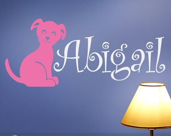 Vinyl Wall Decal: Childrens Custom Name With Puppy Dog for Kids rooms, Nursery Wall Decor