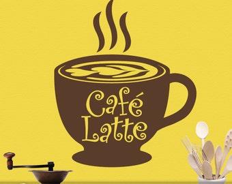 Kitchen Coffee Decor - Big Coffee Mug - Cafe Latte Vinyl Decal Cup - Wall Decal Kitchen - Vinyl Wall Decal - Food Decal