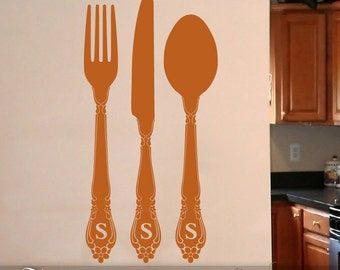 Fork and Spoon Wall Decor - Kitchen Wall Decals, Custom Monogram Flatware, Fork  Spoon Knife Silverware Dining Room Art, Vinyl (0173a45v-r3c)