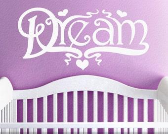 Boho Baby Nursery Decor, Hippie Nursery Wall Decor, Big Dream Wall Decal for Baby Nursery, Vintage Doodle Art (00168d3v)