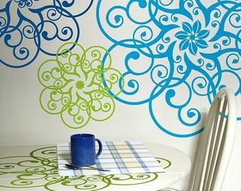Mandala Decal Doily Art, Mandala Wall Decor Vinyl Wall Decal (00166)