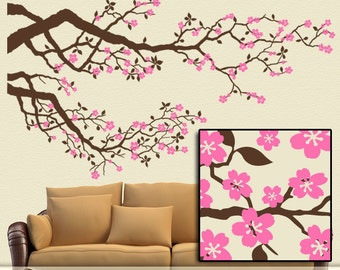 Cherry Blossoms Vinyl Wall Decal: Large Tree Branches Set with Pink Flower Decor