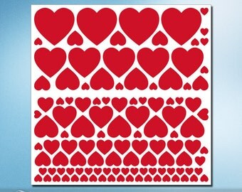 Vinyl Wall Decals: 114 Red Heart shapes for Everyday or Valentines Day Decorations, Removable Stickers