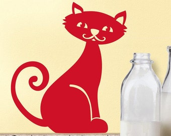 Cat Decal: 2 Kitten with Milk Mustache Kitty Cat Decals for Your Cat Decor Kitchen, Vinyl Wall Decal Art (0177b0v)