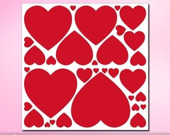 31 Red Heart Wall Decals, Valentines Decorations, Craft Supplies, Heart Decor, Wall Safe & Removable (01711d0v)