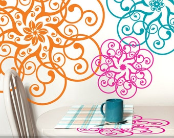 Vinyl Wall Decals: Mandala Lace Doily Art Designs (Shown in Pink Magenta, Tangerine Orange, and Teal Blue)