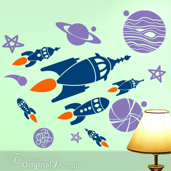 Kids room decor outer space planets spaceships wall decals for Outer space vinyl wall decals
