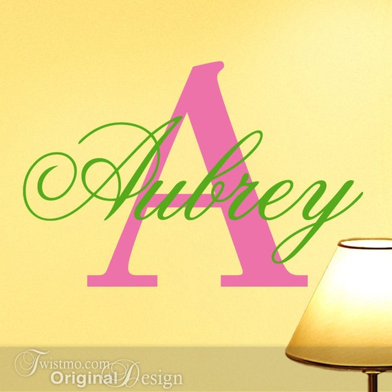 Vinyl monogram decal custom name and initial wall decal for Custom wall mural decals